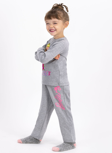 Barbie  Lisanslı Şeker Grimelanj Kız Çocuk Pijama Takımı Gri